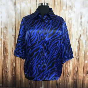 2X royal blue black zebra button down shirt